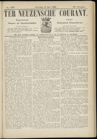 Ter Neuzensche Courant. Algemeen Nieuws- en Advertentieblad voor Zeeuwsch-Vlaanderen / Neuzensche Courant ... (idem) / (Algemeen) nieuws en advertentieblad voor Zeeuwsch-Vlaanderen 1880-06-12