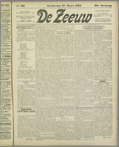 De Zeeuw. Christelijk-historisch nieuwsblad voor Zeeland 1924-03-27