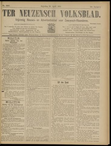 Ter Neuzensch Volksblad. Vrijzinnig nieuws- en advertentieblad voor Zeeuwsch- Vlaanderen / Zeeuwsch Nieuwsblad. Nieuws- en advertentieblad voor Zeeland 1915-04-24