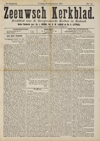 Zeeuwsche kerkbode, weekblad gewijd aan de belangen der gereformeerde kerken/ Zeeuwsch kerkblad 1908-09-25