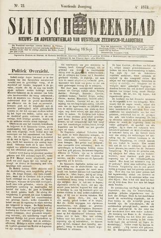 Sluisch Weekblad. Nieuws- en advertentieblad voor Westelijk Zeeuwsch-Vlaanderen 1873-09-16