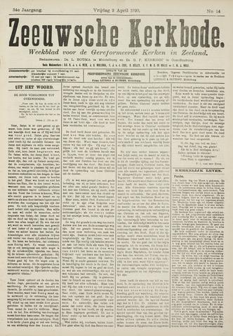 Zeeuwsche kerkbode, weekblad gewijd aan de belangen der gereformeerde kerken/ Zeeuwsch kerkblad 1920-04-02