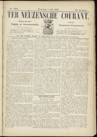 Ter Neuzensche Courant. Algemeen Nieuws- en Advertentieblad voor Zeeuwsch-Vlaanderen / Neuzensche Courant ... (idem) / (Algemeen) nieuws en advertentieblad voor Zeeuwsch-Vlaanderen 1878-06-05