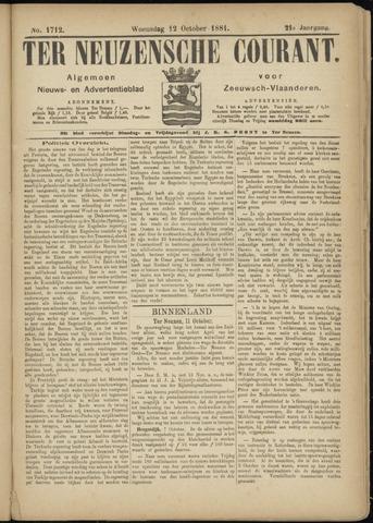 Ter Neuzensche Courant. Algemeen Nieuws- en Advertentieblad voor Zeeuwsch-Vlaanderen / Neuzensche Courant ... (idem) / (Algemeen) nieuws en advertentieblad voor Zeeuwsch-Vlaanderen 1881-10-12