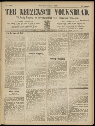 Ter Neuzensch Volksblad. Vrijzinnig nieuws- en advertentieblad voor Zeeuwsch- Vlaanderen / Zeeuwsch Nieuwsblad. Nieuws- en advertentieblad voor Zeeland 1912-08-17