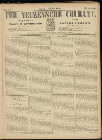 Ter Neuzensche Courant. Algemeen Nieuws- en Advertentieblad voor Zeeuwsch-Vlaanderen / Neuzensche Courant ... (idem) / (Algemeen) nieuws en advertentieblad voor Zeeuwsch-Vlaanderen 1898-10-04