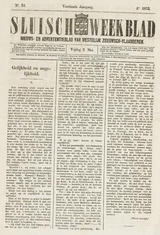 Sluisch Weekblad. Nieuws- en advertentieblad voor Westelijk Zeeuwsch-Vlaanderen 1873-05-02
