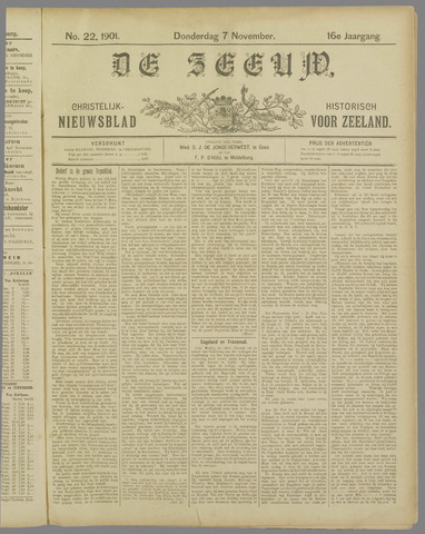 De Zeeuw. Christelijk-historisch nieuwsblad voor Zeeland 1901-11-07