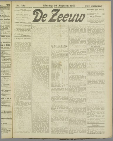 De Zeeuw. Christelijk-historisch nieuwsblad voor Zeeland 1916-08-29