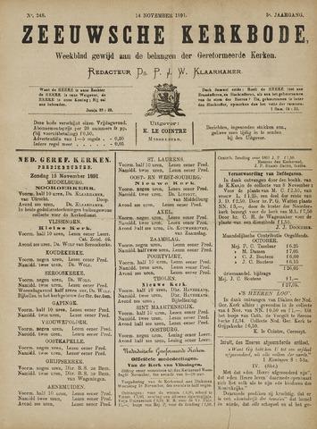 Zeeuwsche kerkbode, weekblad gewijd aan de belangen der gereformeerde kerken/ Zeeuwsch kerkblad 1891-11-14