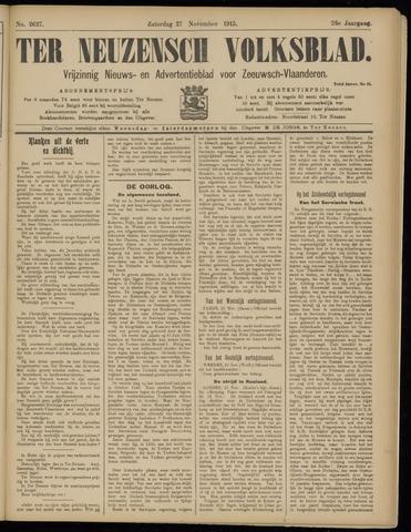 Ter Neuzensch Volksblad. Vrijzinnig nieuws- en advertentieblad voor Zeeuwsch- Vlaanderen / Zeeuwsch Nieuwsblad. Nieuws- en advertentieblad voor Zeeland 1915-11-27