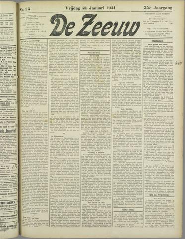 De Zeeuw. Christelijk-historisch nieuwsblad voor Zeeland 1921-01-21