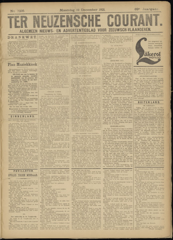 Ter Neuzensche Courant. Algemeen Nieuws- en Advertentieblad voor Zeeuwsch-Vlaanderen / Neuzensche Courant ... (idem) / (Algemeen) nieuws en advertentieblad voor Zeeuwsch-Vlaanderen 1921-12-12