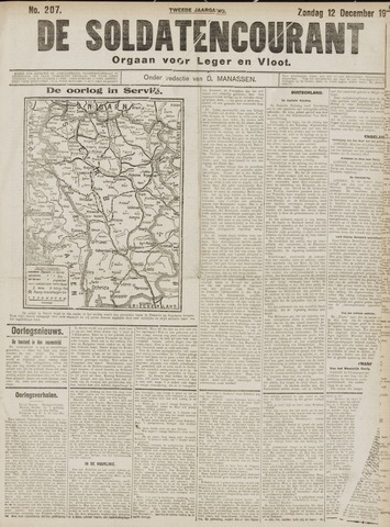 De Soldatencourant. Orgaan voor Leger en Vloot 1915-12-12