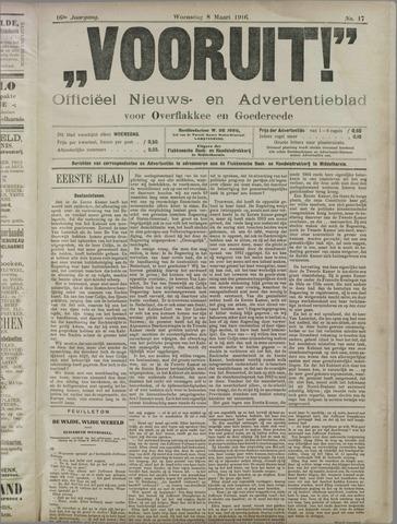 """""""Vooruit!""""Officieel Nieuws- en Advertentieblad voor Overflakkee en Goedereede 1916-03-08"""