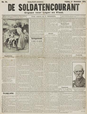 De Soldatencourant. Orgaan voor Leger en Vloot 1914-11-27