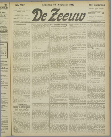De Zeeuw. Christelijk-historisch nieuwsblad voor Zeeland 1917-08-28