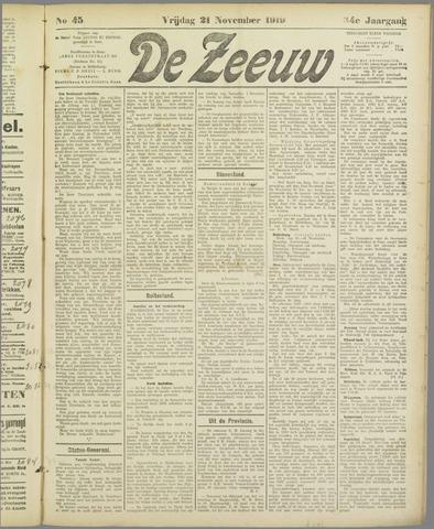 De Zeeuw. Christelijk-historisch nieuwsblad voor Zeeland 1919-11-21