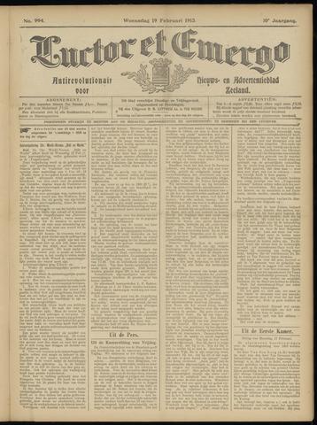 Luctor et Emergo. Antirevolutionair nieuws- en advertentieblad voor Zeeland / Zeeuwsch-Vlaanderen. Orgaan ter verspreiding van de christelijke beginselen in Zeeuwsch-Vlaanderen 1913-02-19