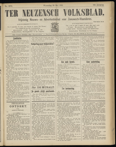 Ter Neuzensch Volksblad. Vrijzinnig nieuws- en advertentieblad voor Zeeuwsch- Vlaanderen / Zeeuwsch Nieuwsblad. Nieuws- en advertentieblad voor Zeeland 1913-05-28