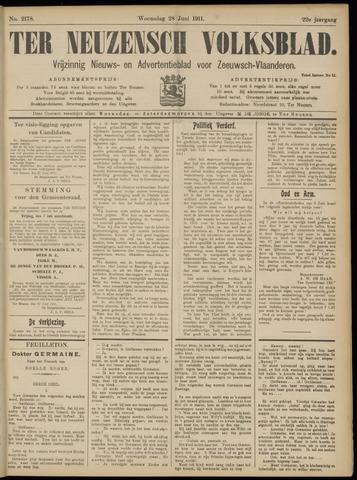 Ter Neuzensch Volksblad. Vrijzinnig nieuws- en advertentieblad voor Zeeuwsch- Vlaanderen / Zeeuwsch Nieuwsblad. Nieuws- en advertentieblad voor Zeeland 1911-06-28