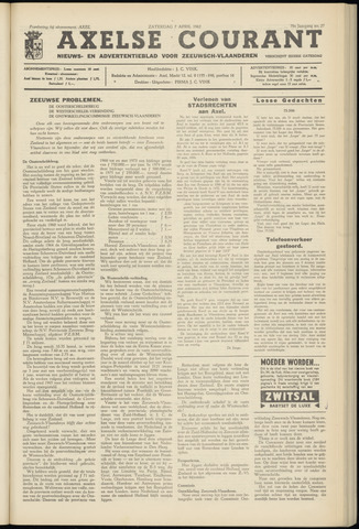 Axelsche Courant 1962-04-07