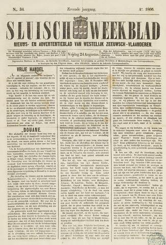 Sluisch Weekblad. Nieuws- en advertentieblad voor Westelijk Zeeuwsch-Vlaanderen 1866-08-24