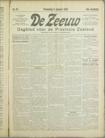 De Zeeuw. Christelijk-historisch nieuwsblad voor Zeeland 1930-01-08
