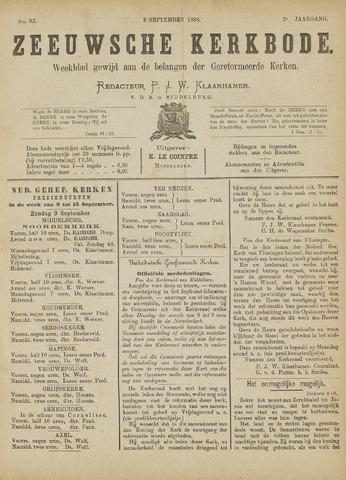 Zeeuwsche kerkbode, weekblad gewijd aan de belangen der gereformeerde kerken/ Zeeuwsch kerkblad 1888-09-08