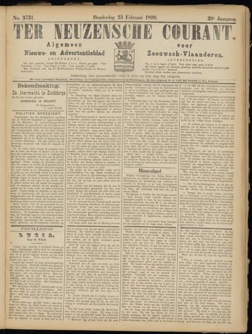 Ter Neuzensche Courant. Algemeen Nieuws- en Advertentieblad voor Zeeuwsch-Vlaanderen / Neuzensche Courant ... (idem) / (Algemeen) nieuws en advertentieblad voor Zeeuwsch-Vlaanderen 1899-02-23