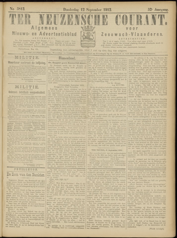 Ter Neuzensche Courant. Algemeen Nieuws- en Advertentieblad voor Zeeuwsch-Vlaanderen / Neuzensche Courant ... (idem) / (Algemeen) nieuws en advertentieblad voor Zeeuwsch-Vlaanderen 1912-09-12