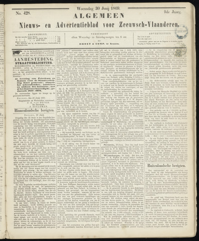 Ter Neuzensche Courant. Algemeen Nieuws- en Advertentieblad voor Zeeuwsch-Vlaanderen / Neuzensche Courant ... (idem) / (Algemeen) nieuws en advertentieblad voor Zeeuwsch-Vlaanderen 1869-06-30