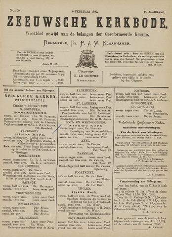 Zeeuwsche kerkbode, weekblad gewijd aan de belangen der gereformeerde kerken/ Zeeuwsch kerkblad 1892-02-06