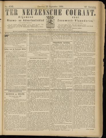 Ter Neuzensche Courant. Algemeen Nieuws- en Advertentieblad voor Zeeuwsch-Vlaanderen / Neuzensche Courant ... (idem) / (Algemeen) nieuws en advertentieblad voor Zeeuwsch-Vlaanderen 1905-09-23
