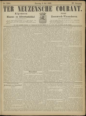 Ter Neuzensche Courant. Algemeen Nieuws- en Advertentieblad voor Zeeuwsch-Vlaanderen / Neuzensche Courant ... (idem) / (Algemeen) nieuws en advertentieblad voor Zeeuwsch-Vlaanderen 1886-07-03