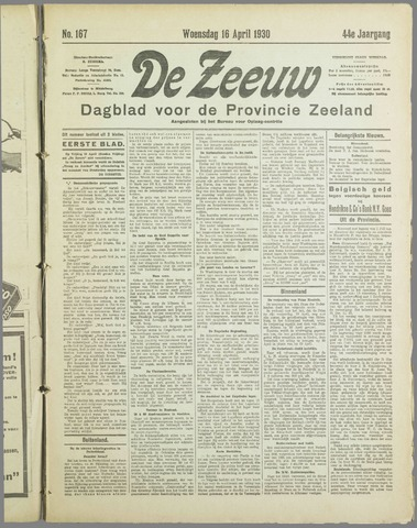 De Zeeuw. Christelijk-historisch nieuwsblad voor Zeeland 1930-04-16