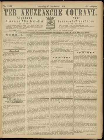 Ter Neuzensche Courant. Algemeen Nieuws- en Advertentieblad voor Zeeuwsch-Vlaanderen / Neuzensche Courant ... (idem) / (Algemeen) nieuws en advertentieblad voor Zeeuwsch-Vlaanderen 1908-09-17