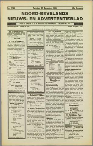 Noord-Bevelands Nieuws- en advertentieblad 1945-09-22