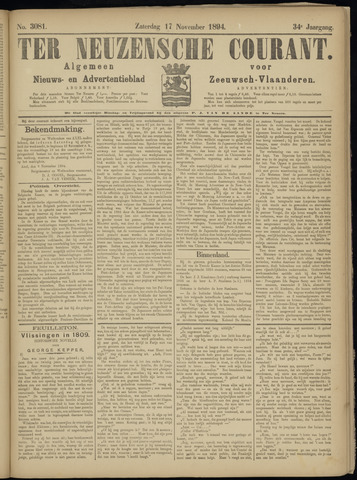 Ter Neuzensche Courant. Algemeen Nieuws- en Advertentieblad voor Zeeuwsch-Vlaanderen / Neuzensche Courant ... (idem) / (Algemeen) nieuws en advertentieblad voor Zeeuwsch-Vlaanderen 1894-11-17