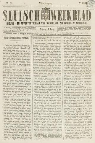 Sluisch Weekblad. Nieuws- en advertentieblad voor Westelijk Zeeuwsch-Vlaanderen 1864-06-03