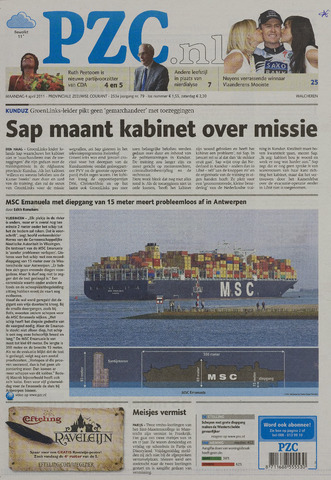 Provinciale Zeeuwse Courant 2011-04-04
