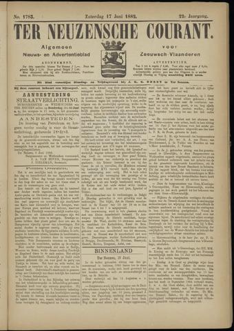 Ter Neuzensche Courant. Algemeen Nieuws- en Advertentieblad voor Zeeuwsch-Vlaanderen / Neuzensche Courant ... (idem) / (Algemeen) nieuws en advertentieblad voor Zeeuwsch-Vlaanderen 1882-06-17