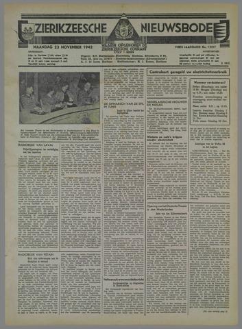 Zierikzeesche Nieuwsbode 1942-11-23