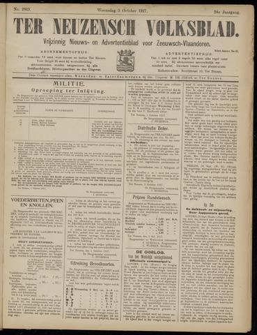 Ter Neuzensch Volksblad. Vrijzinnig nieuws- en advertentieblad voor Zeeuwsch- Vlaanderen / Zeeuwsch Nieuwsblad. Nieuws- en advertentieblad voor Zeeland 1917-10-03