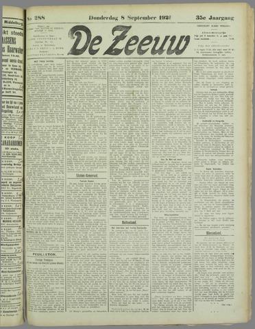 De Zeeuw. Christelijk-historisch nieuwsblad voor Zeeland 1921-09-08
