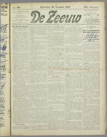 De Zeeuw. Christelijk-historisch nieuwsblad voor Zeeland 1918-01-19