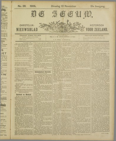 De Zeeuw. Christelijk-historisch nieuwsblad voor Zeeland 1906-11-13