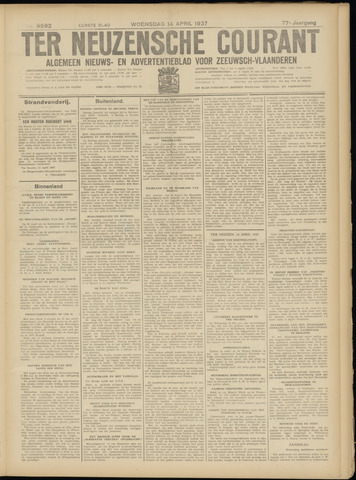Ter Neuzensche Courant. Algemeen Nieuws- en Advertentieblad voor Zeeuwsch-Vlaanderen / Neuzensche Courant ... (idem) / (Algemeen) nieuws en advertentieblad voor Zeeuwsch-Vlaanderen 1937-04-14