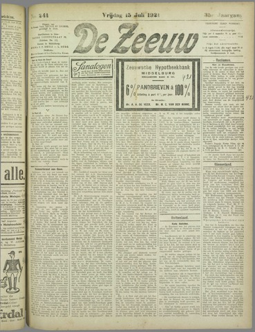 De Zeeuw. Christelijk-historisch nieuwsblad voor Zeeland 1921-07-15