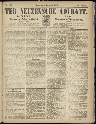 Ter Neuzensche Courant. Algemeen Nieuws- en Advertentieblad voor Zeeuwsch-Vlaanderen / Neuzensche Courant ... (idem) / (Algemeen) nieuws en advertentieblad voor Zeeuwsch-Vlaanderen 1883-11-03